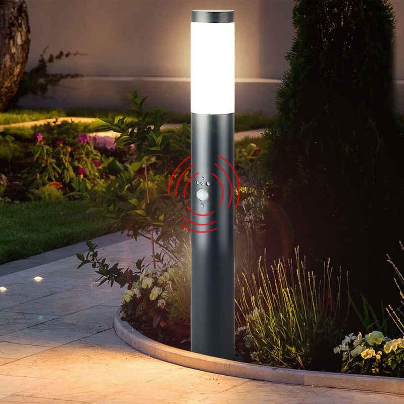 etc-shop LED Außen-Stehlampe, Gartenlampe mit Bewegungsmelder anthrazit Gartenstehlampe Edelstahl E27 Wegeleuchte Garten, 3 Sensoreinstellungen, 1x E27, H 80 cm