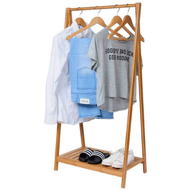 Woltu Kleiderständer, Kleiderständer Kleiderstange Bambus Regal SR0035