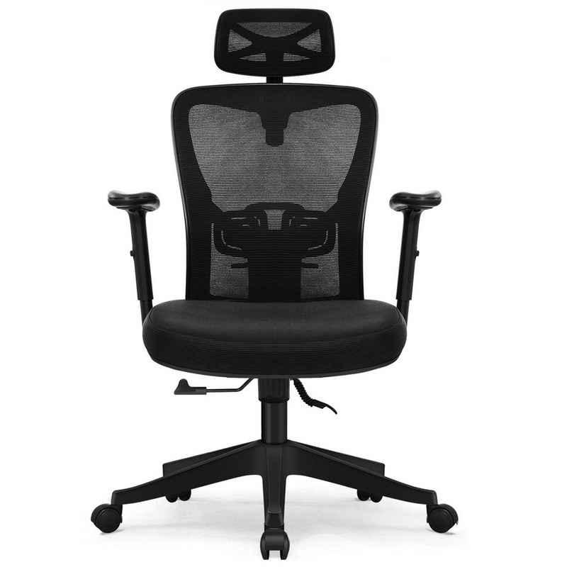 Aiibot Chefsessel »Bürostuhl, Ergonomischer Schreibtischstuhl D300, Ergonomisches Design mit Kopfstütze Einstellung für Neigung und Höhe. Neigungswinkel der Rückenlehne: 90°-130°, Einstellbare Lordosenstütze, das Schmerzen Taille und Wirbelsäule zu lindern, dickes Sitzkissen, Gasdruckfeder bestanden SGS-Zertifizierung,Aiibot Gruppe Aiidoits-Serie« (Packung)