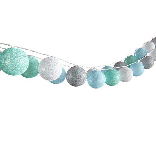 Vicco LED-Lichterkette »Lichterkette Cotton Balls Girlande grau weiß mint-grün hellblau 310 cm«