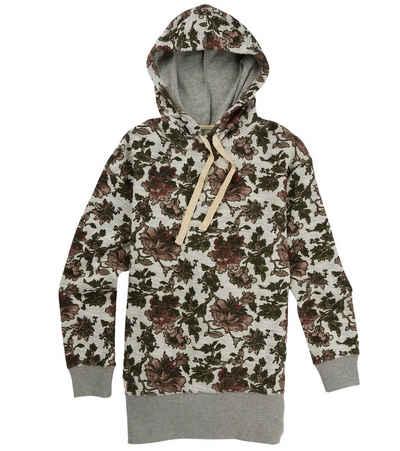 Burton Hoodie »BURTON Fearnow Kapuzen-Pullover modischer Damen Long-Hoodie mit Blumen-Muster Sweater Creme/Grau«