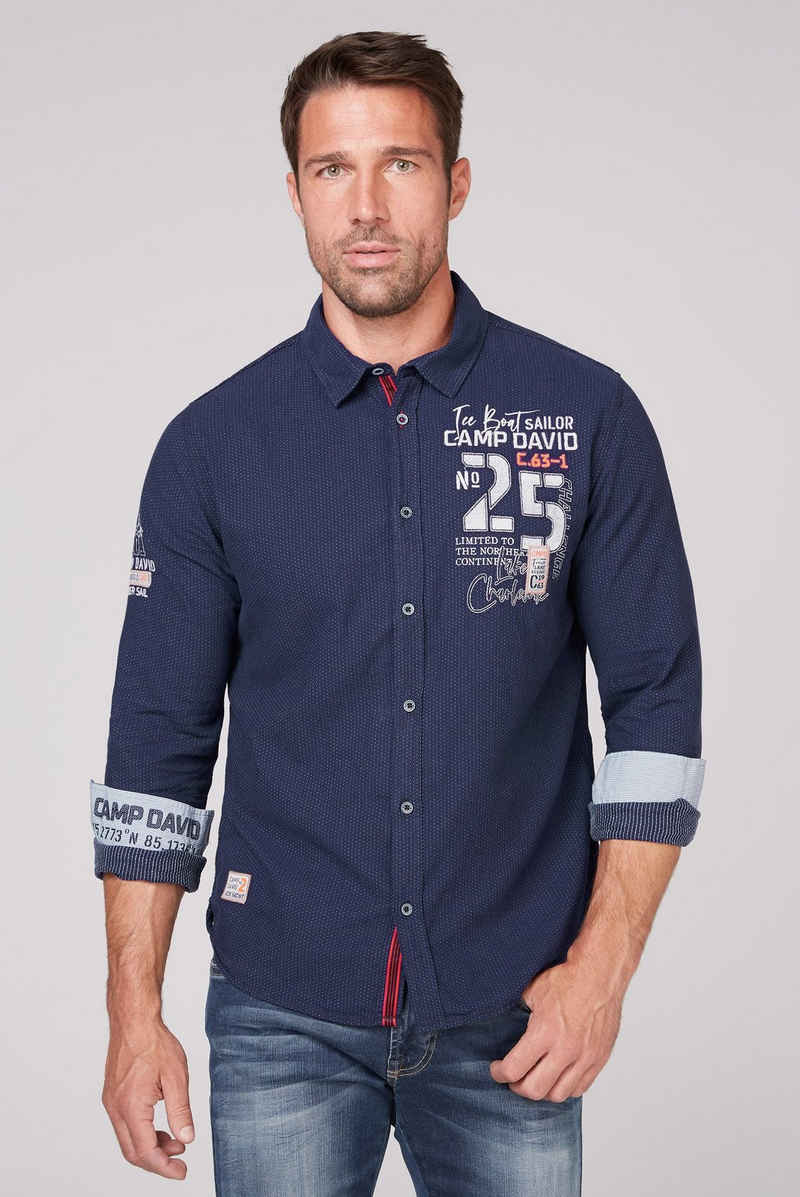CAMP DAVID Langarmhemd mit grafischem Musterprint