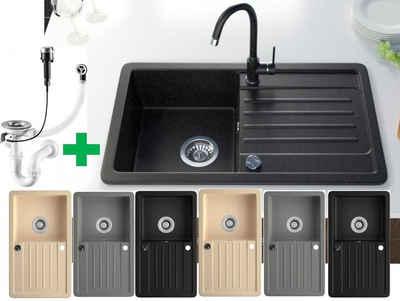 Faizee Möbel Granitspüle »Faizee Möbel Granitspüle »Granitspüle Küchenspüle Granit Siphon Einbauspüle Spülbecken Spüle Granit 75x45«, rechteckig, Granitspüle:75 x 16 x 44 cm (BxHxT) Vorgebohrt für eine Armatur Reversibel – Links oder Rechts montierbar, (Komplett-Set, 1 St., Granitbecken inklusive Zubehör), mit Zubehör und Siphon«, Eckig, 75/16 cm, Granitspüle in 3 Farben je nach Wahl Schwarz/Beige/Grau, (5 St)
