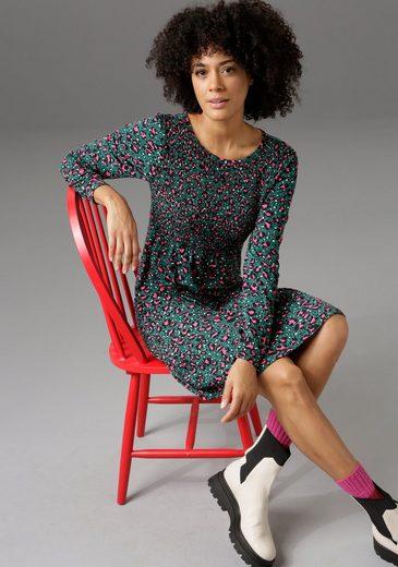 Aniston CASUAL Jerseykleid vorne mit gesmoktem Oberteil - NEUE KOLLEKTION