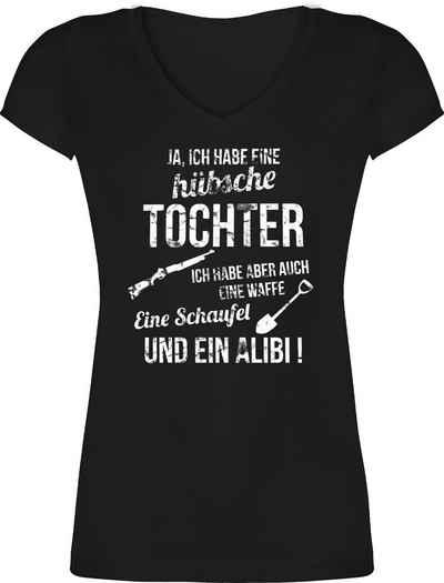 Shirtracer T-Shirt »Ich habe eine hübsche Tochter - Muttertagsgeschenk - Damen T-Shirt mit V-Ausschnitt«