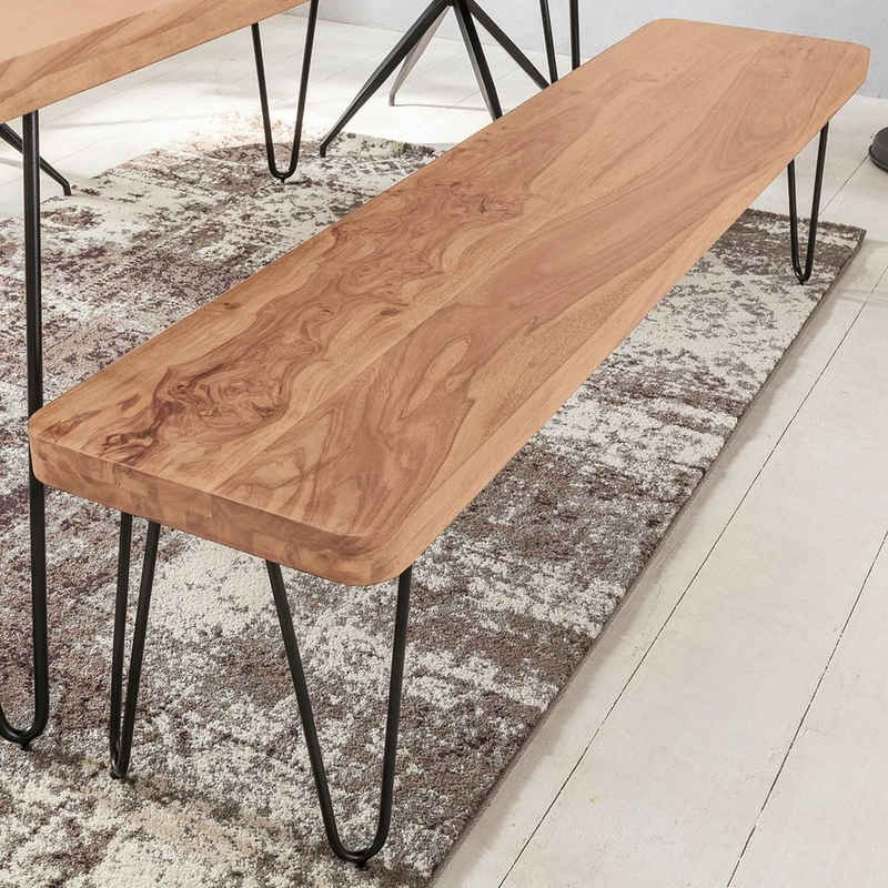 Lomadox Sitzbank, Esszimmer Massiv-Holz Akazie Holz-Bank Natur-Produkt Küchenbank im Landhaus-Stil B/H/T ca. 120/45/40cm