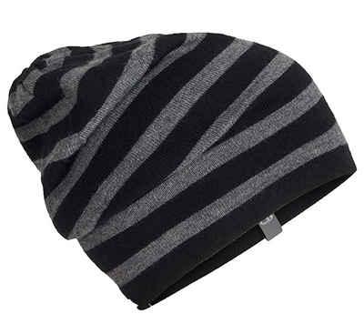 Icebreaker Beanie »icebreaker MERINO Stripe Slouch Beanie modische Winter-Mütze mit Merino Wolle Kopfbedeckung Schwarz/Grau«