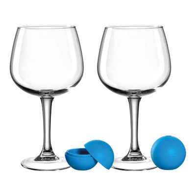 LEONARDO Gläser-Set »LIMITED Gingläser mit Eiswürfelbereiter«, Silikon