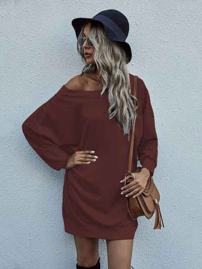enflame Longpullover »3722« Damen Oversized Long Shirt Off-Shoulder Dress Longsleeve Pullover