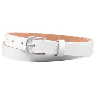 COLOGNEBELT Ledergürtel »A6-SL« Gürtel 2 cm breit in Weiss im klassischen Look mit einfacher Gürtelschließe, echtes Leder
