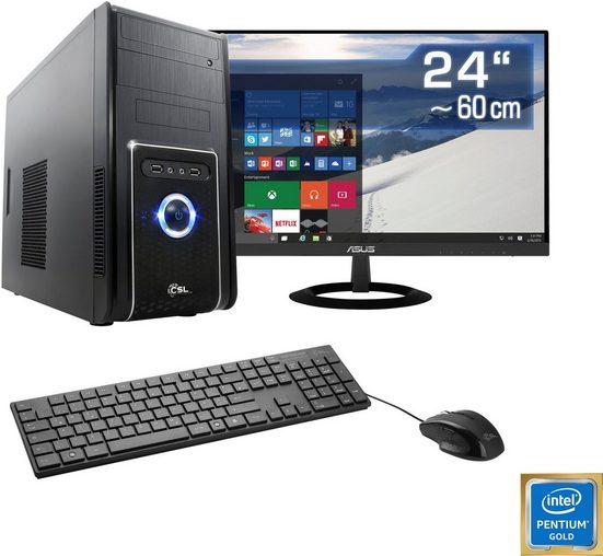 """CSL Speed L1861 Windows 10 Home PC-Komplettsystem (24"""", Intel Pentium, UHD Graphics 610, 8 GB RAM, 240 GB SSD)"""