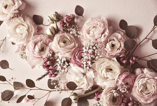 living walls Fototapete »ARTist Flat Lay Flower«, (Set, 4 St), Rosen, Vlies, glatt