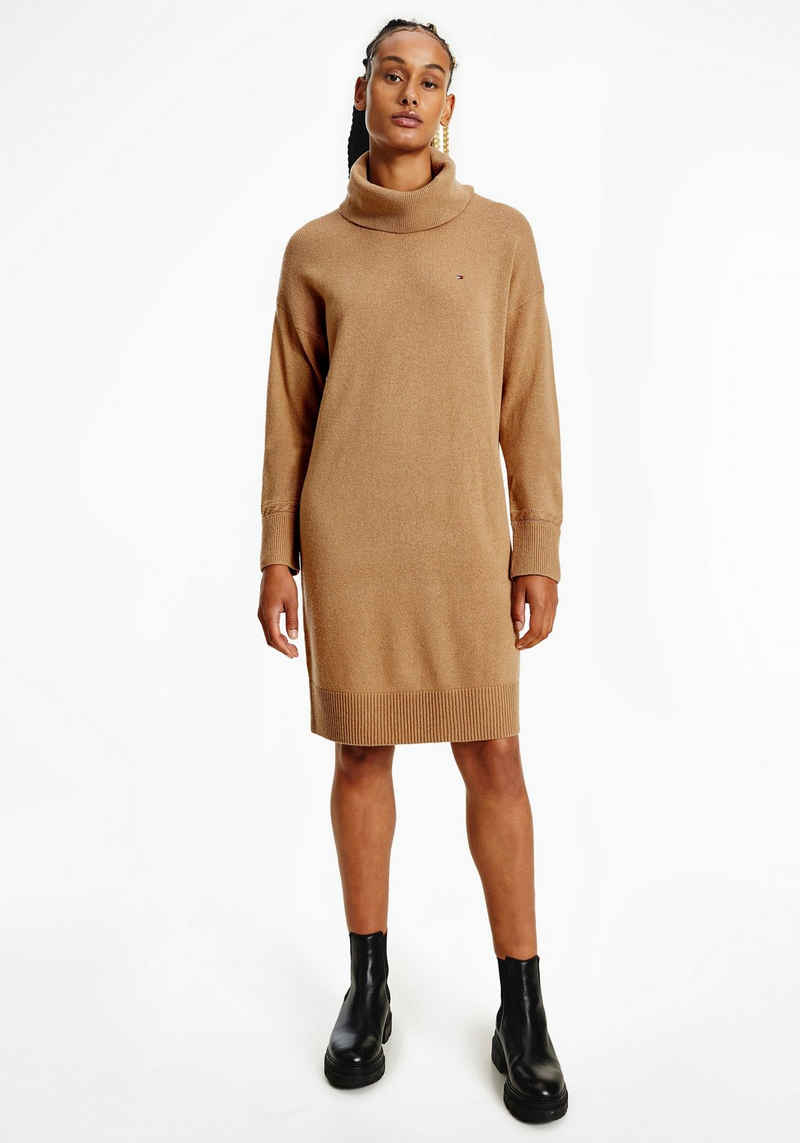 Tommy Hilfiger Strickkleid »SOFTWOOL ROLL-NK KNEE DRESS LS« mit Zopfmuster an den Ärmeln