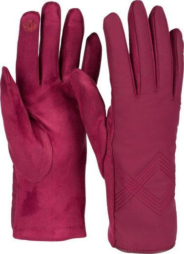 styleBREAKER Fleecehandschuhe Touchscreen Handschuhe Zick-Zack bestickt