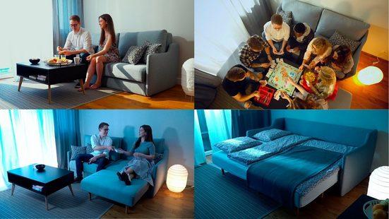 """INOSIGN Sofa »Magic Tiny Alpha Sofa S«, 3 Teile, mit integrierten """"versteckten"""" Hockern, Schlaffunktion möglich - eine Vielzahl von Sitz- und Stellvarianten, Breite 158 cm"""