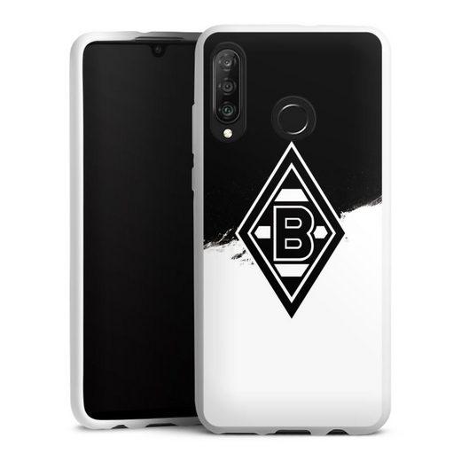 DeinDesign Handyhülle »Borussia Scratch Schwarz-Weiss« Huawei P30 Lite, Hülle Borussia Mönchengladbach Gladbach Bundesliga