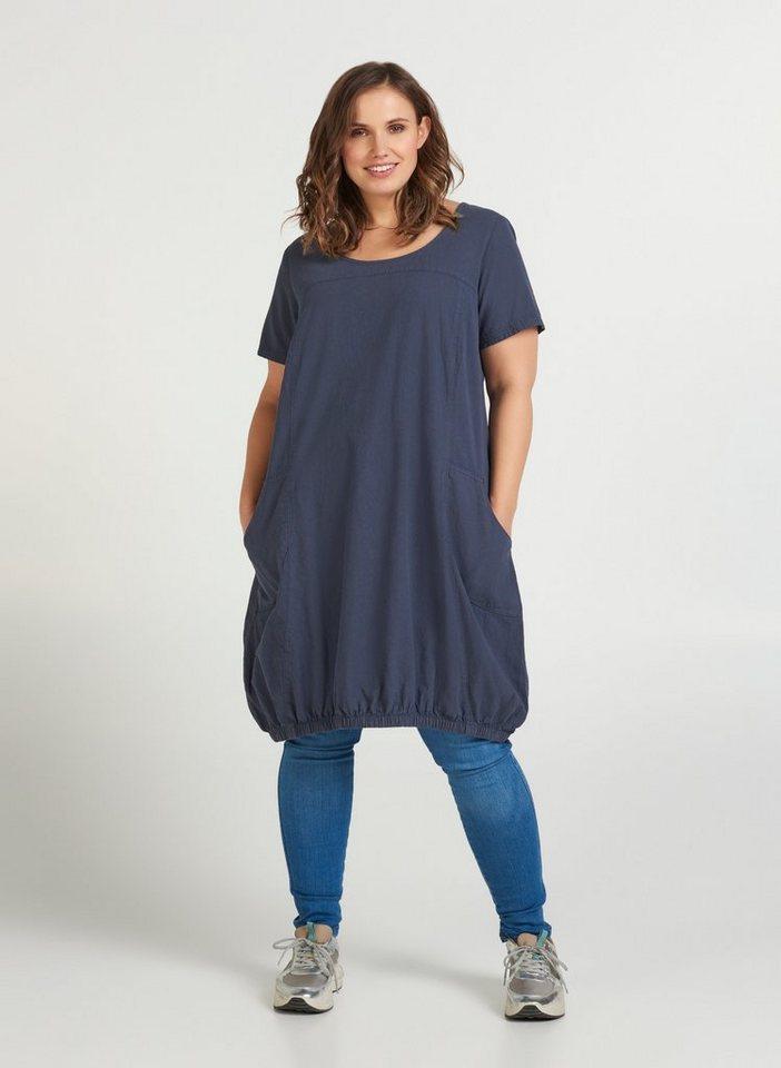 zizzi -  Blusenkleid Große Größen Kurzarm Kleid aus Baumwolle mit Rundhalsausschnitt und Taschen