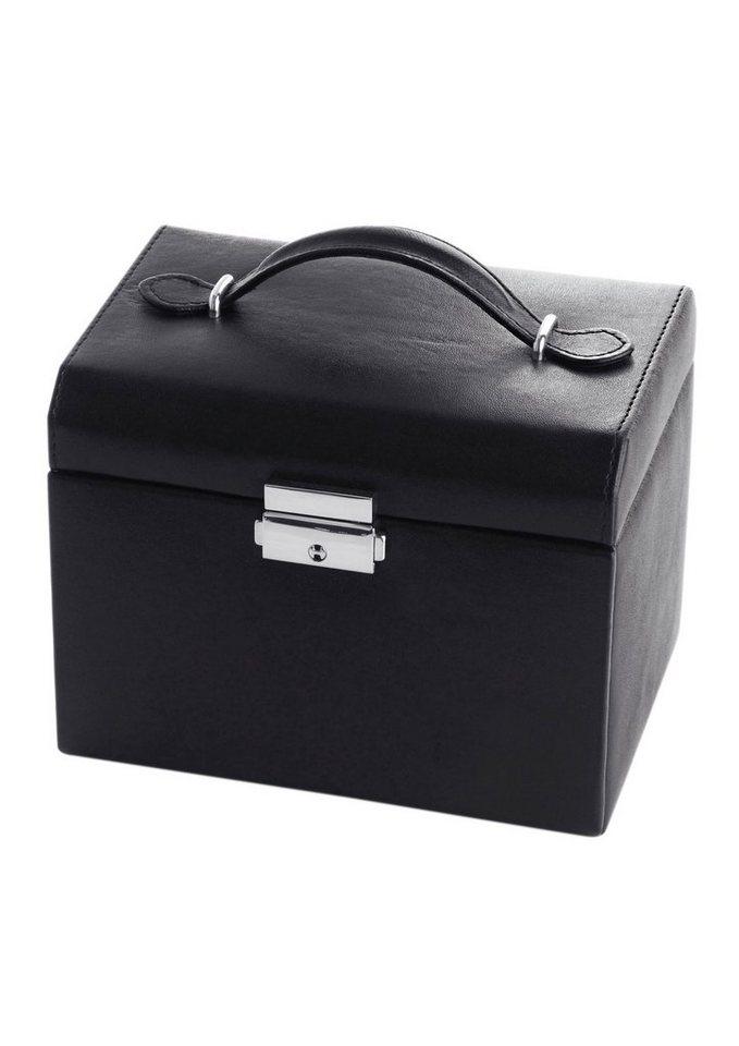 Sacher Schmuckkasten abschließbar mit 2 Schubladen in schwarz