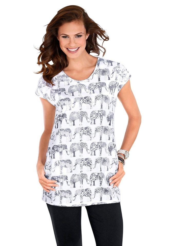 Longshirt, Graziella in weiß-bedruckt