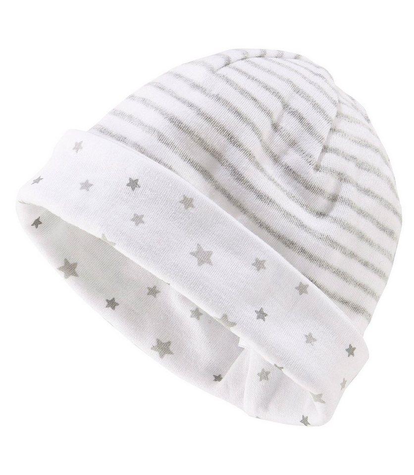 Klitzeklein Jerseymütze mit Umschlag in weiß-grau
