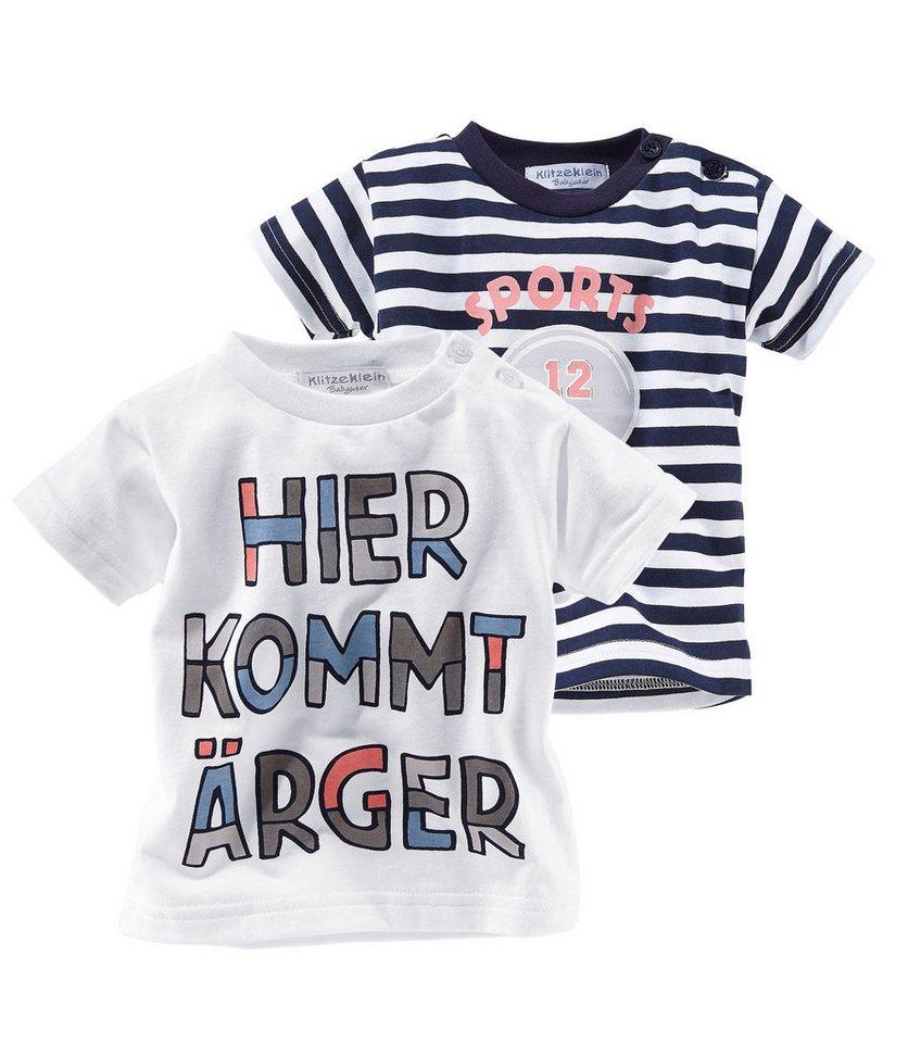 Klitzeklein T-Shirt (Packung, 2 tlg., 2er-Pack) in marine+weiß