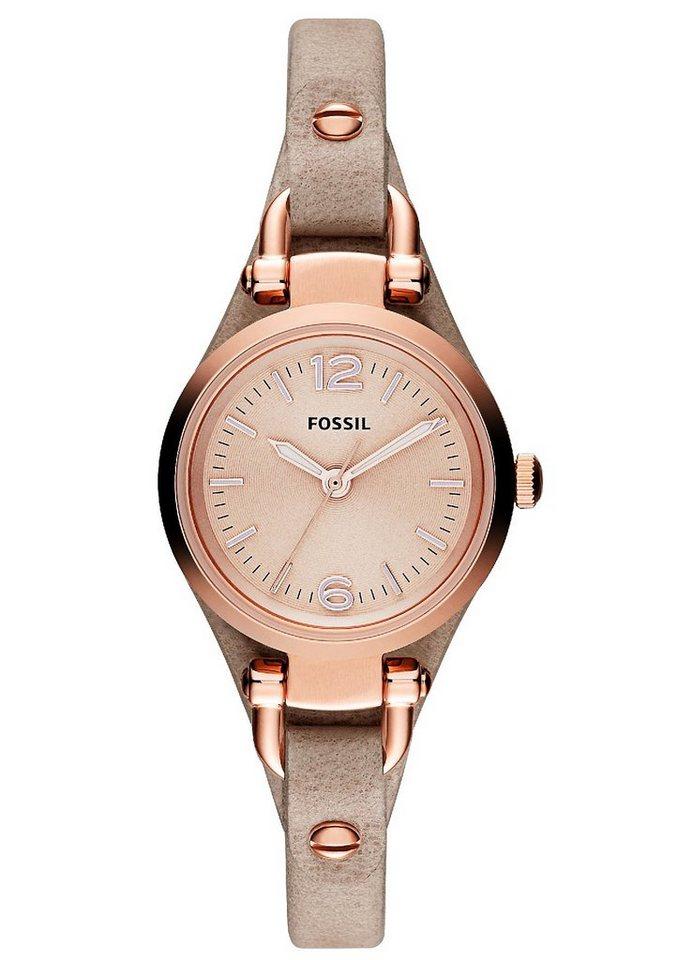 "Fossil, Armbanduhr, ""GEORGIA, ES3262"" in braun-roségoldfarben"