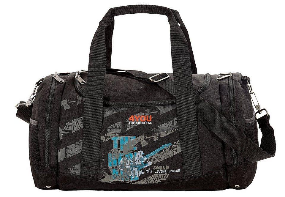Sporttasche Gitarren-Motiv auf schwarz, »Sportbag Function«, 4YOU in schwarz