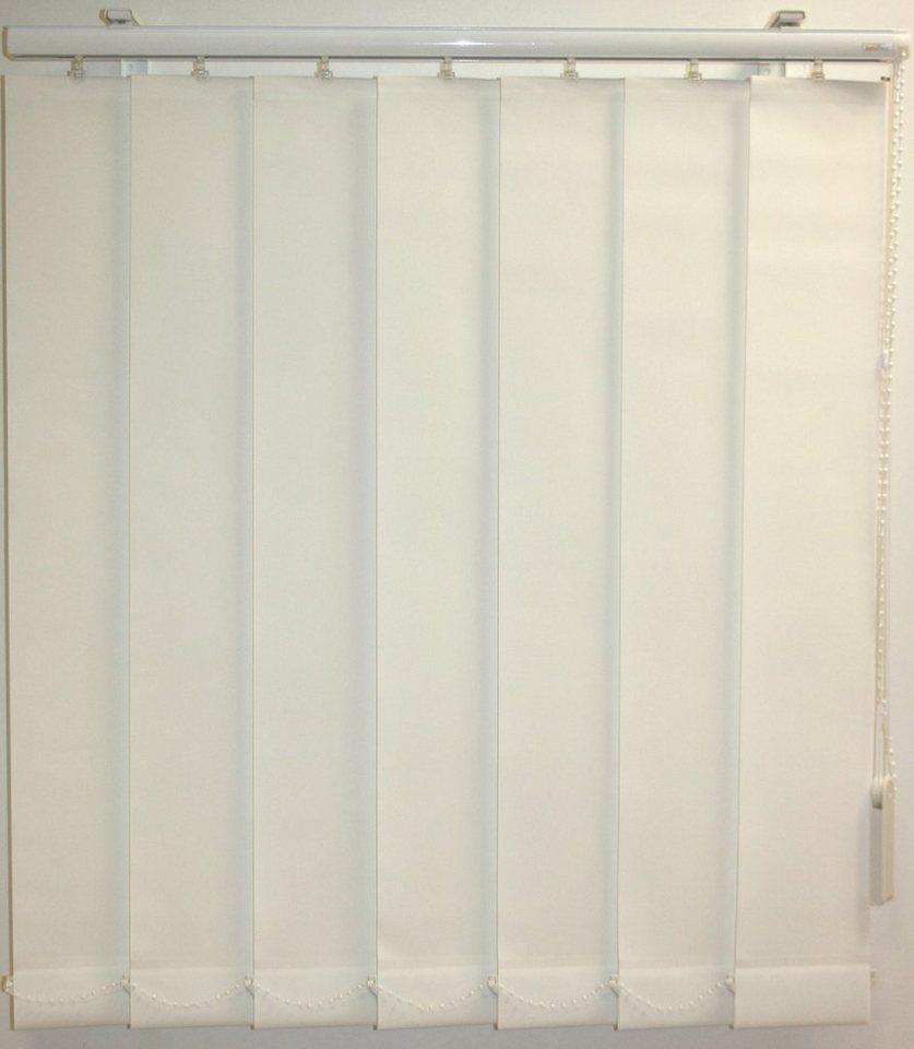Vertikal-Lamellenvorhang mit weißen Verbindungsketten, Sunlines, Wunschmaß, mittig geteilt in weiss