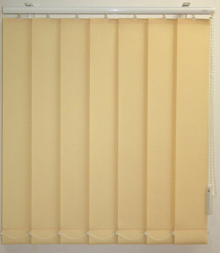 Vertikal-Lamellenvorhang mit weißen Verbindungsketten, Sunlines, Wunschmaß, Ohne Teilung in vanille