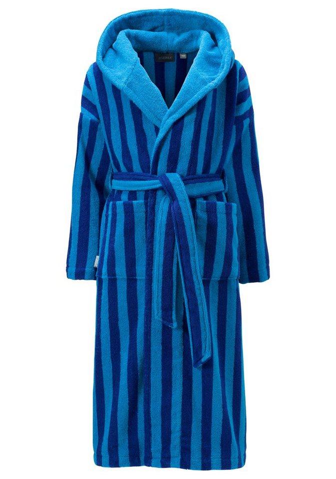 Kinderbademantel, Egeria, »Nicki«, mit länglichen Streifen in blau