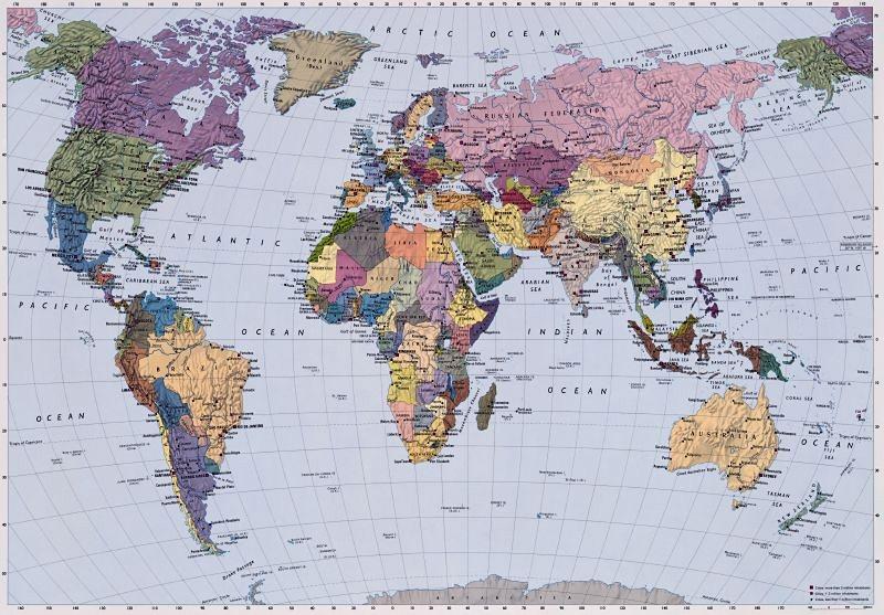Fototapete, Komar, »World Map« in bunt