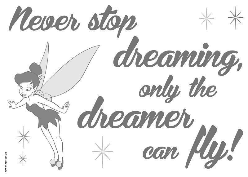 Decosticker, Komar, »Never stop dreaming« in grau/schwarz
