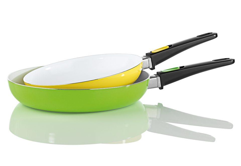 BRATmaxx Pfannen, Keramik 2er-Set gelb/grün