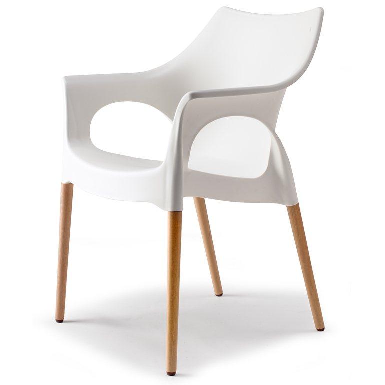 SalesFever Designer Stuhl mit Holzbeinen Linen »Natural Ola« in weiß, linen