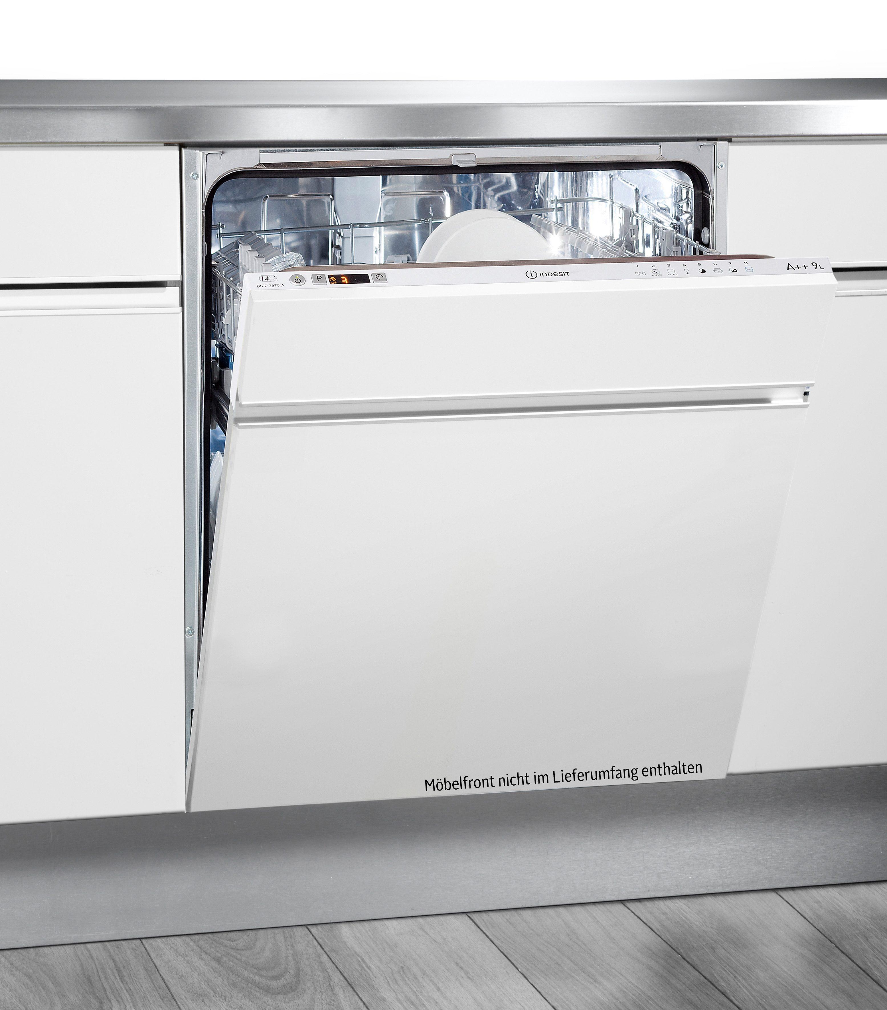 Indesit vollintegrierbarer Geschirrspüler, DIFP 28T9 A EU, 9 l, 14 Maßgedecke, Energieeffizienzklasse A++