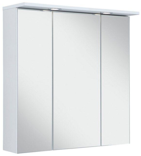 Spiegel - Schildmeyer Spiegelschrank »SPS 700.1 Spot« Breite 70 cm, 3 türig, 2 LED Einbaustrahler, Schalter Steckdosenbox, Glaseinlegeböden, Made in Germany  - Onlineshop OTTO