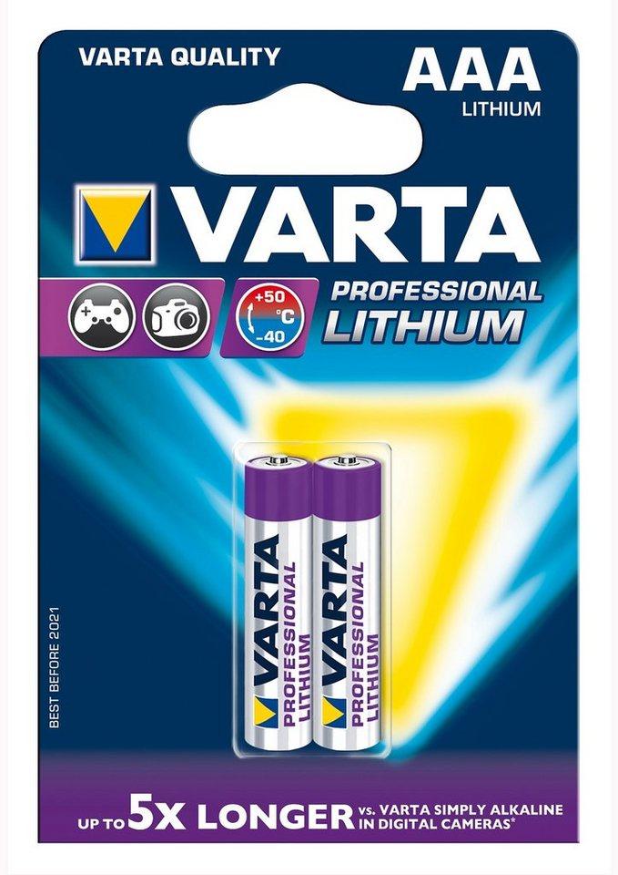 Batterien, »Professional Lithium, Micro / AAA / R03 / 2 Stück«, Varta