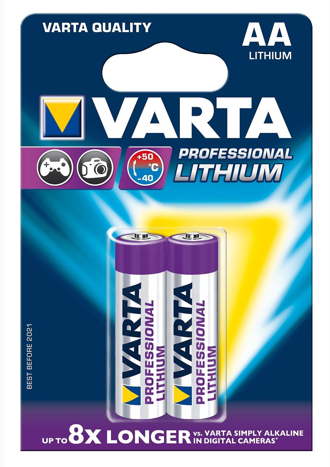 Varta Batterien, »Professional Lithium, Mignon / AA / R06 / 2 Stück«