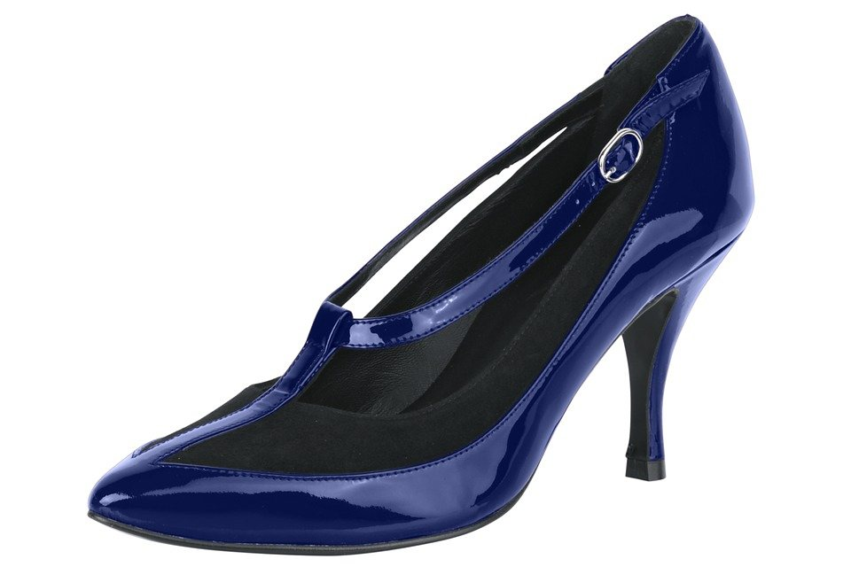 Pumps in royalblau/schwarz