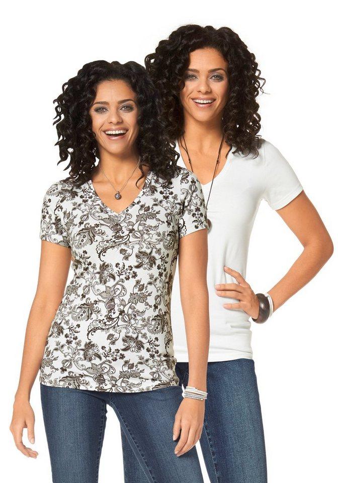 Boysen's T-Shirt mit Raffung (Packung, 2er-Pack) in braun-bedruckt-wollweiß