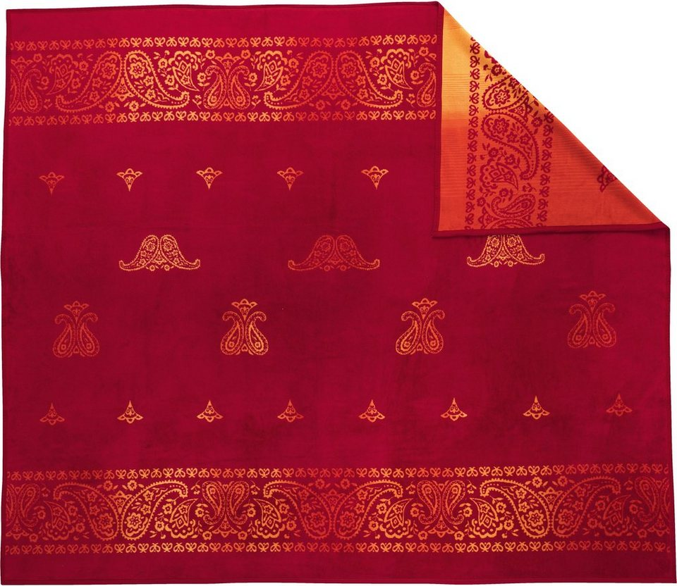 Tagesdecke, Ibena, »Sunset«, orientalisches Design in rot