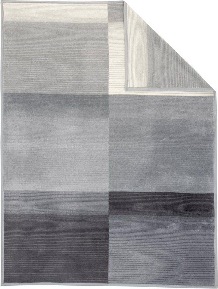 Wohndecke, Ibena, »Blacky«, mit dezenten Streifen in grau-schwarz