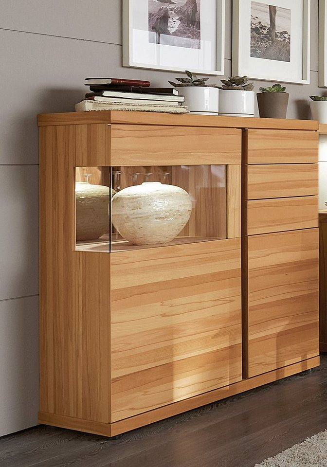 VENJAKOB Highboard »v-plus«, 2-türig, Seitenverglasung links, Breite 115 cm in Kernbuche