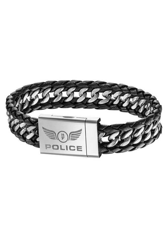 Armband, »Attack, PJ25332BLB-01-L«, POLICE in silberfarben/schwarz