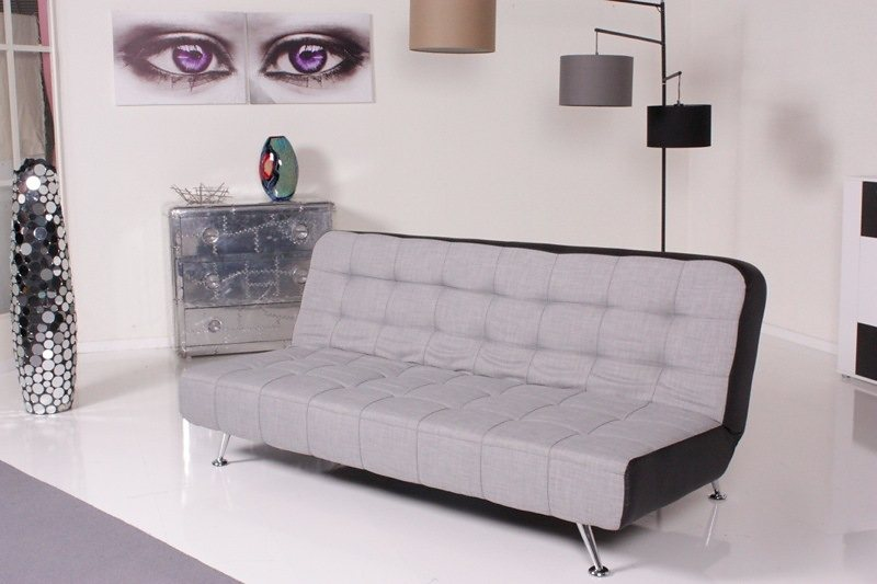 Kasper-Wohndesign Relax Schlafsofa Marlene Bettsofa Stoff/Kunstleder hellgrau/schw »KAWOLA«