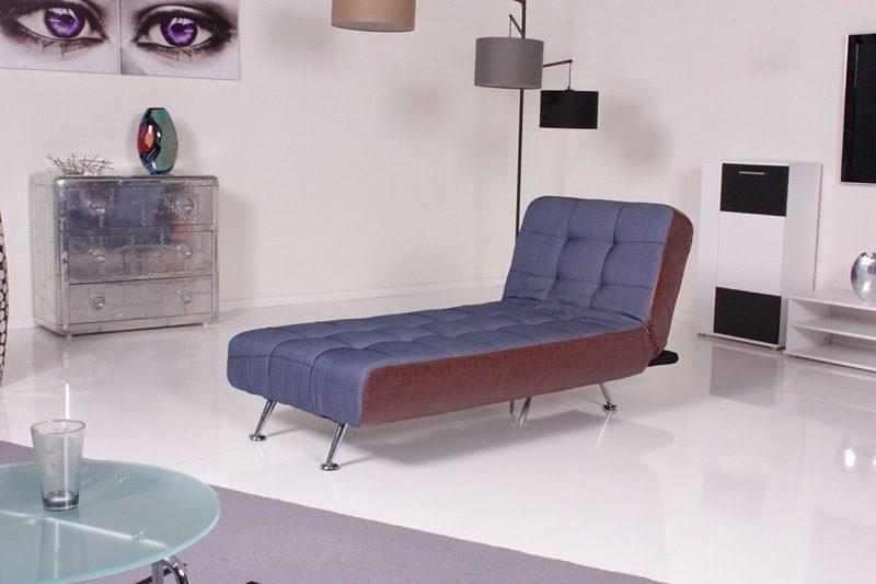 Kasper-Wohndesign Relax Liege Stoff/Kunstleder denim/antik Kawola »Marlene«