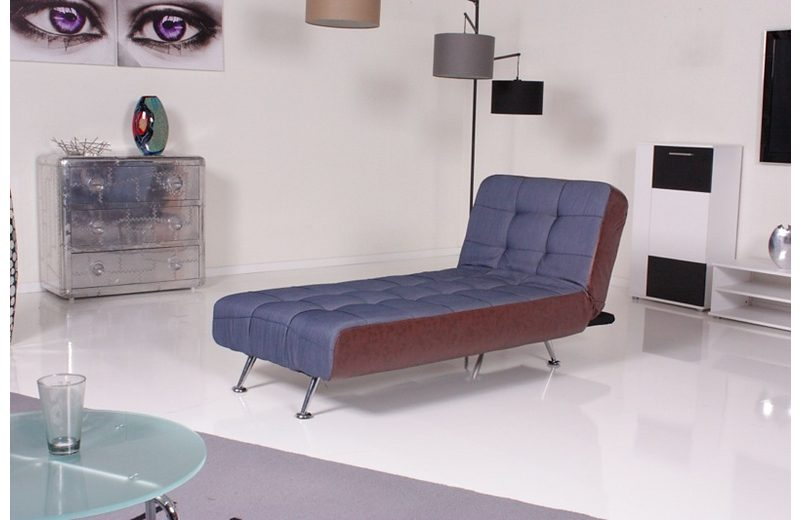 Kasper-Wohndesign Relax Liege Marlene Stoff/Kunstleder denim/antik »KAWOLA«