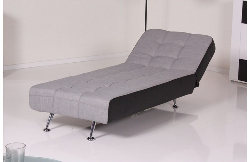 Kasper-Wohndesign Relax Liege Marlene Stoff/Kunstleder hellgrau/schwarz »KAWOLA«