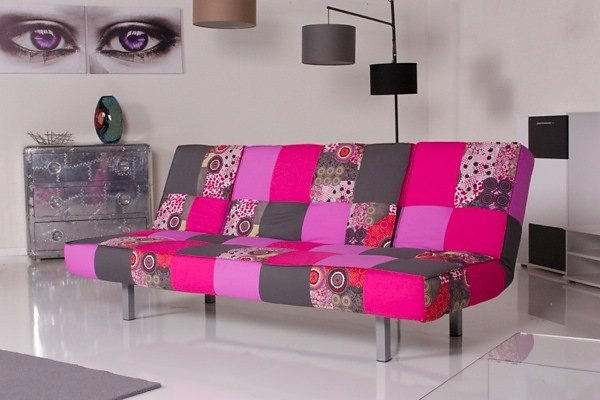 Kasper-Wohndesign Relax Schlafsofa Selina Bettsofa Patchwork Stoff »KAWOLA«