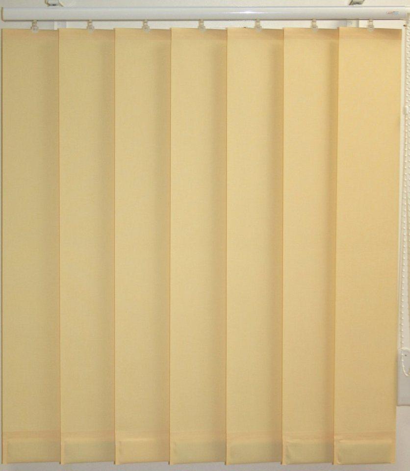 Vertikal-Lamellenvorhang mit eingeschweißten Beschwerungsplatten, Sunlines, ohne Teilung in vanille